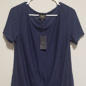 Anthro W5 Blue Swiss Dot Knotted Front Top- Sz MD